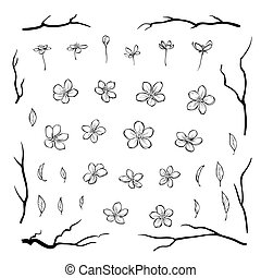 Set of cherry blossom flowers leaves and black branches in outline style for greeting cards, invitations