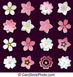 Set of cherry blossom, sakura flowers