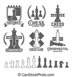 Set of chess labels, badges and design elements