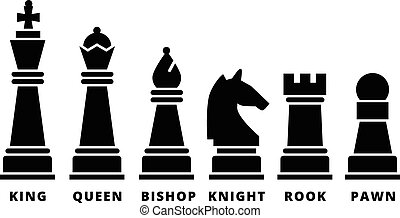 Set of chess piece. Vector icons in black silhouettes. King...