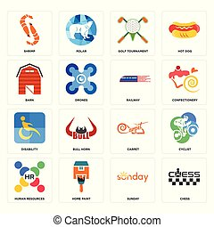 Set of chess, sunday, human resources, carpet, disability, railway, barn, golf tournament, shrimp icons