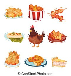 Set of chicken dishes. Vector illustration on a white background.