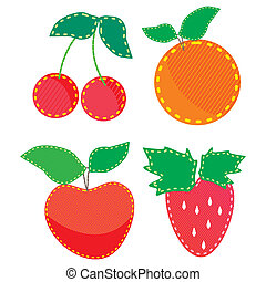 set of child colored applique fabric, fruit and berries
