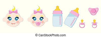 Set of child faces icons, baby bottles with milk, pacifiers baby dummies, nipple thermometer, nibbler.