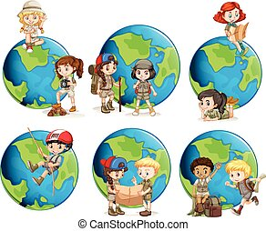 Set of children and globes
