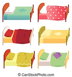 Set of children beds with blanket and pillow flat vector illustration isolated.
