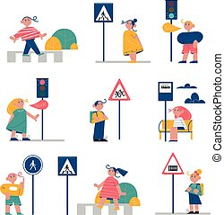 Set of children children learning and memorizing traffic rules signs near roads outdoors