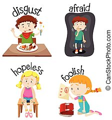 Set of children doing activities with adjectives illustration