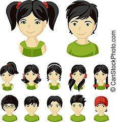 Set of children faces.
