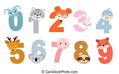 Set of children numbers with animals.