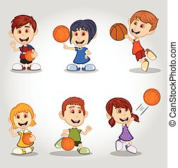 Set of children playing basketball