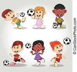 Set of children playing soccer