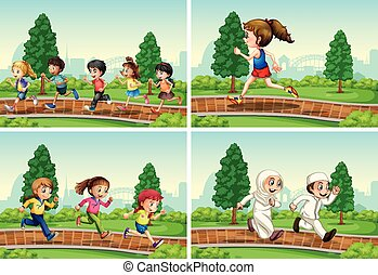 Set of children running at the park