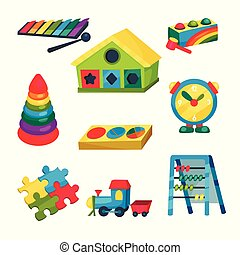 Set of children s toys. Xylophone, pyramid with rings, abacus, puzzles, clock, train, house with holes for geometric figures. Flat vector elements