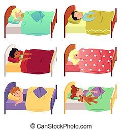 Set of children sleeping in bed under blanket flat vector illustration isolated.