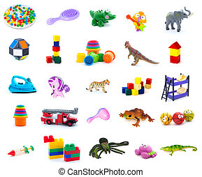 Set of children toys on white background. Full size.
