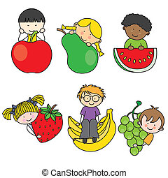 Set of children with fruits