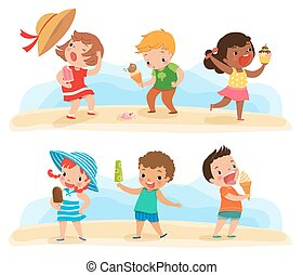 set of children with ice cream - Illustration of children...