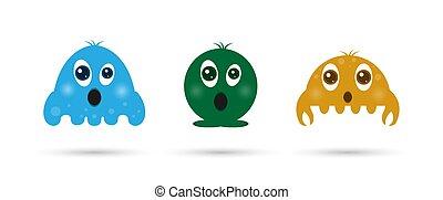Set of children's cartoon characters. Simple design.