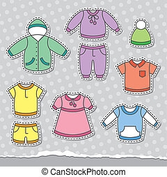children's clothes - set of children's clothes, vector...