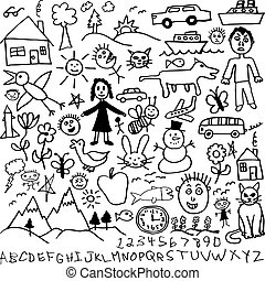 Set of Children's Drawings - A set of unique hand drawn, ...