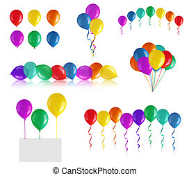 Set of children's party balloons isolated on white