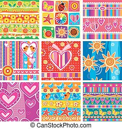 Set of childrens seamless pattern