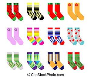 Set of children's socks on a white isolated background. Vector illustration.