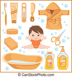 Set of children's things for bathin - Vector illustration. ...