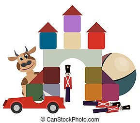 Set of children's toys. Cow, soldier, cubes, pyramid, cars, ball. Vector illustration
