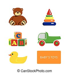 Set of childrens toys on a white background