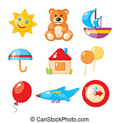 Set of child's pictures for a kindergarten