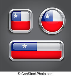 Chile flag glass buttons