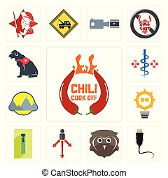 Set of chili cook off, ethernet, free owl, approach, zipper, problem management, montain, registe nurse, service dog icons