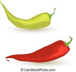Set of chilli peppers on white background