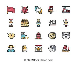 Set of Chinese Culture Flat Color Icons. Rickshaw, Calligraphy, Panda and more.