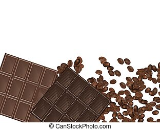 Set of Chocolate Bars and Coffee Beans Isolated on White Background