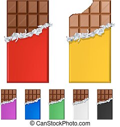 Set of chocolate bars in colorful wrappers. Illustration on...
