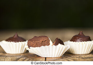 Set of chocolate candies with a fondant.