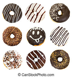 Set of chocolate donuts isolated on white background.