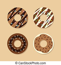 Set Of Chocolate Donuts.