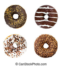 Set of chocolate donuts. Top view.