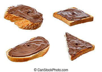 set of chocolate sandwiches isolated on white
