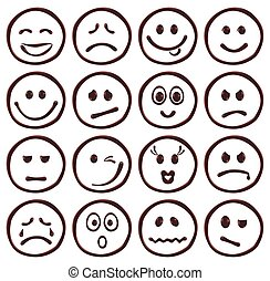 Set of chocolate smiley faces on white background, realistic vector illustration