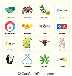 Set of chopper, pot leaf, , sun moon, texas, heating cooling, olive leaves, hand shaking icons