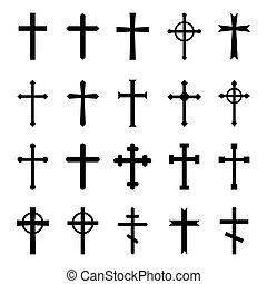 Set of christian crosses. Vector symbol on white background.