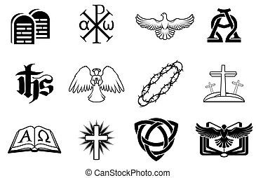 A set of Christian icons including angel, dove, alpha omega, Chi Ro and many more