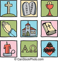 Set of christianity symbols