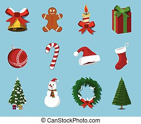 Set of  Christmas 12 label, XMas icon. Cartoon style. Vector Illustration for Christmas day