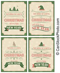 Set of Christmas and Happy New Year card with ornate elements in retro style
